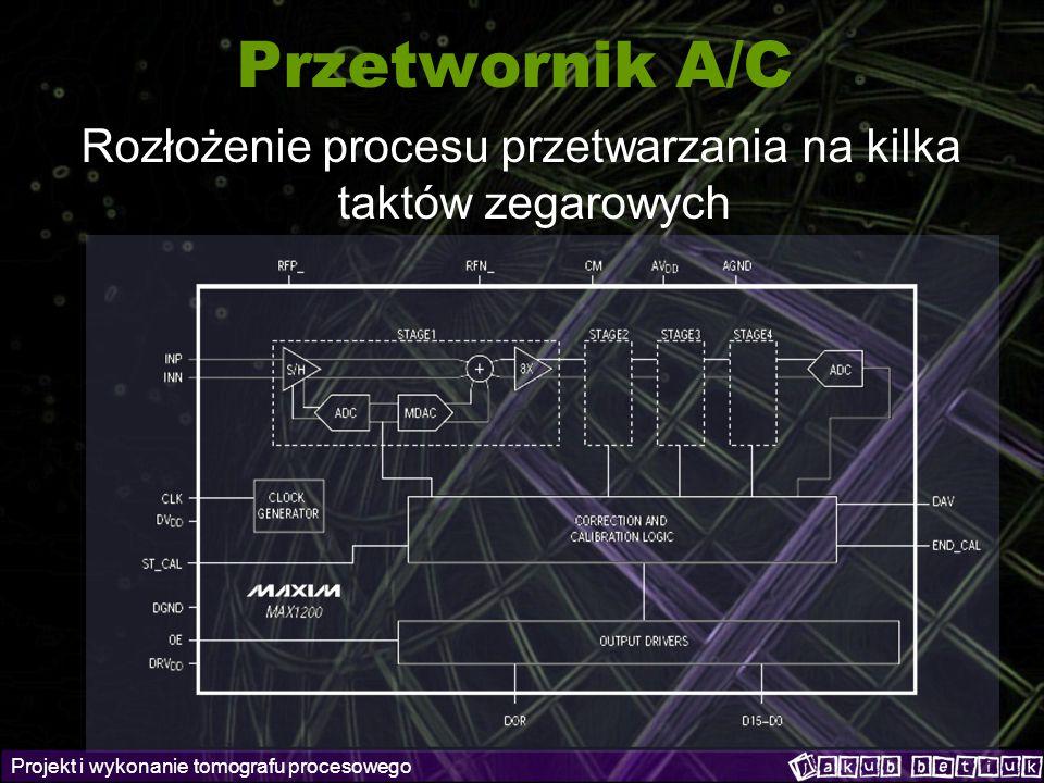 Projekt i wykonanie tomografu procesowego Przetwornik A/C Rozłożenie procesu przetwarzania na kilka taktów zegarowych