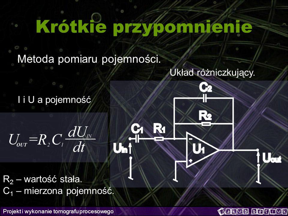 Projekt i wykonanie tomografu procesowego Krótkie przypomnienie Metoda pomiaru pojemności. Układ różniczkujący. I i U a pojemność R 2 – wartość stała.
