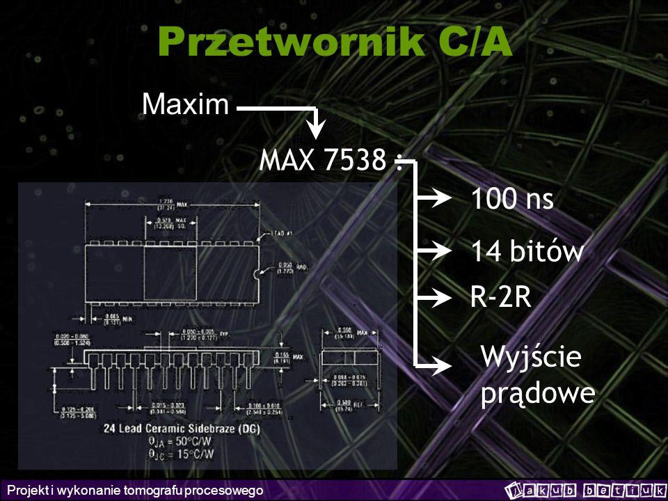 Projekt i wykonanie tomografu procesowego Przetwornik C/A Maxim MAX 7538 : 100 ns 14 bitów R-2R Wyjście prądowe