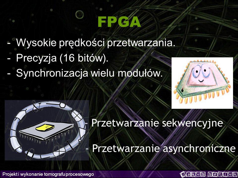 Projekt i wykonanie tomografu procesowego FPGA -Wysokie prędkości przetwarzania. -Precyzja (16 bitów). -Synchronizacja wielu modułów. - Przetwarzanie