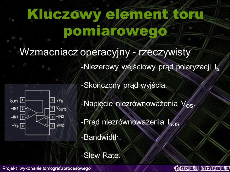 Projekt i wykonanie tomografu procesowego Kluczowy element toru pomiarowego Wzmacniacz operacyjny - rzeczywisty -Niezerowy wejściowy prąd polaryzacji