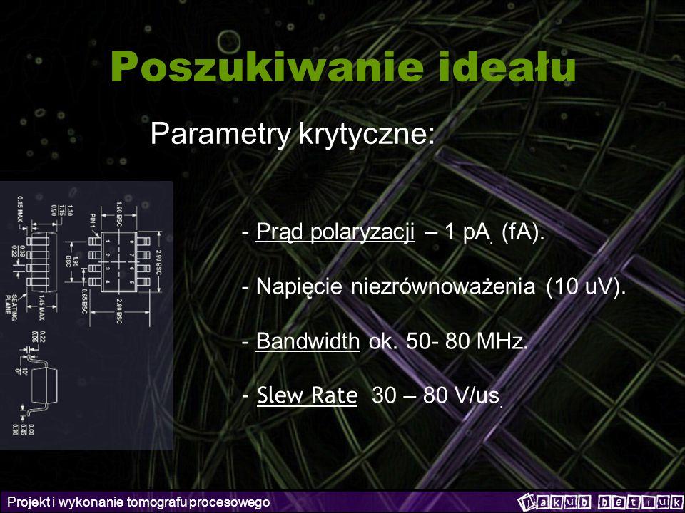 Projekt i wykonanie tomografu procesowego Poszukiwanie ideału Parametry krytyczne: - Prąd polaryzacji – 1 pA. (fA). - Napięcie niezrównoważenia (10 uV