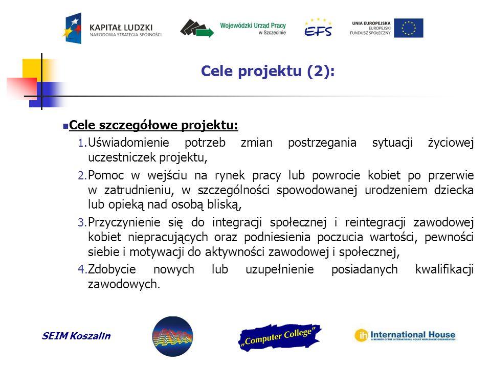 """SEIM Koszalin Realizatorzy projektu, obszar działania, kwota dofinansowania, grupa docelowa: Projekt realizowany jest w ramach partnerstwa:  Przedsiębiorstwo Organizacji Wdrożeń """"AYA Sp."""