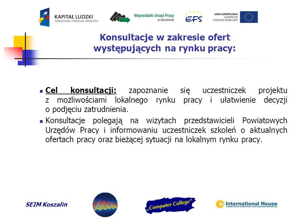 SEIM Koszalin Konsultacje w zakresie ofert występujących na rynku pracy: Cel konsultacji: zapoznanie się uczestniczek projektu z możliwościami lokalnego rynku pracy i ułatwienie decyzji o podjęciu zatrudnienia.