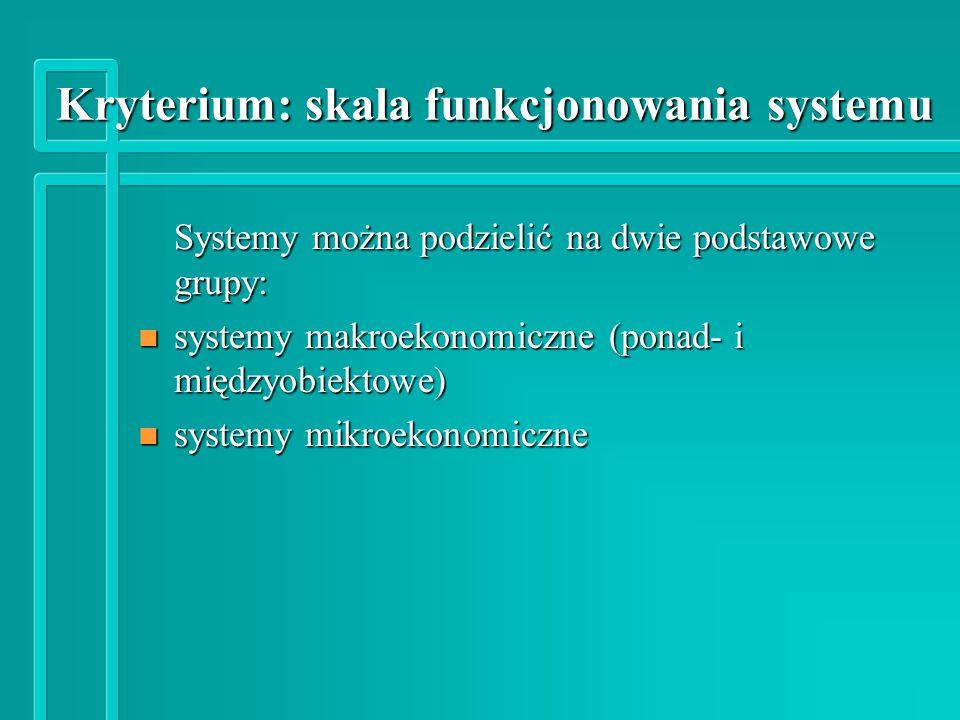 Kryterium: skala funkcjonowania systemu Kryterium: skala funkcjonowania systemu Systemy można podzielić na dwie podstawowe grupy: n systemy makroekonomiczne (ponad- i międzyobiektowe) n systemy mikroekonomiczne