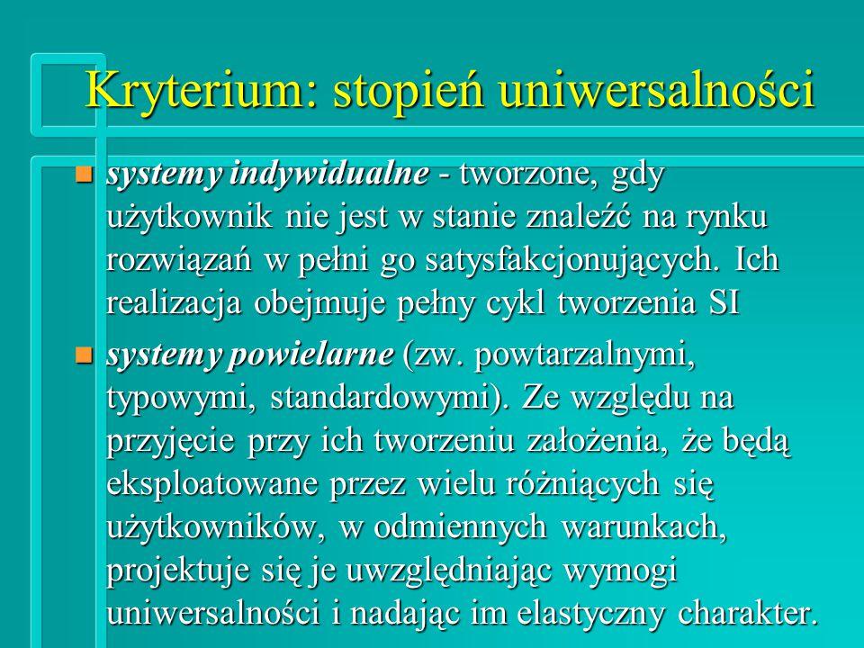 Kryterium: stopień uniwersalności n systemy indywidualne - tworzone, gdy użytkownik nie jest w stanie znaleźć na rynku rozwiązań w pełni go satysfakcjonujących.
