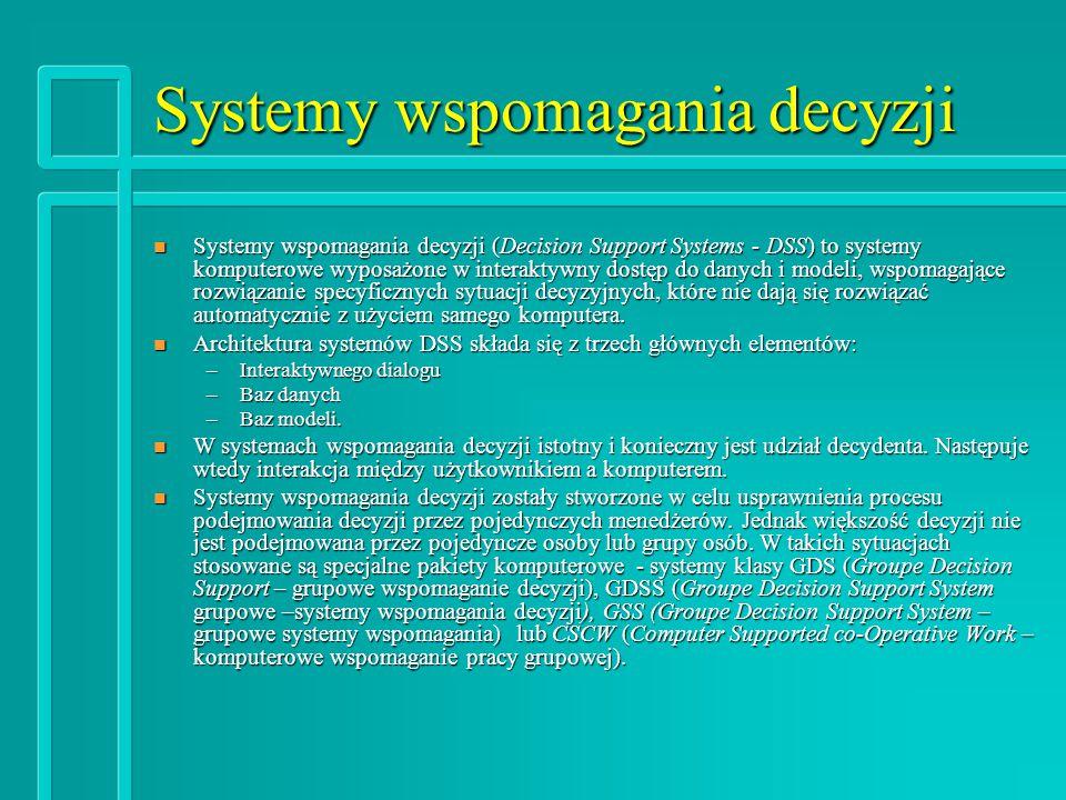 Systemy wspomagania decyzji n Systemy wspomagania decyzji (Decision Support Systems - DSS) to systemy komputerowe wyposażone w interaktywny dostęp do danych i modeli, wspomagające rozwiązanie specyficznych sytuacji decyzyjnych, które nie dają się rozwiązać automatycznie z użyciem samego komputera.