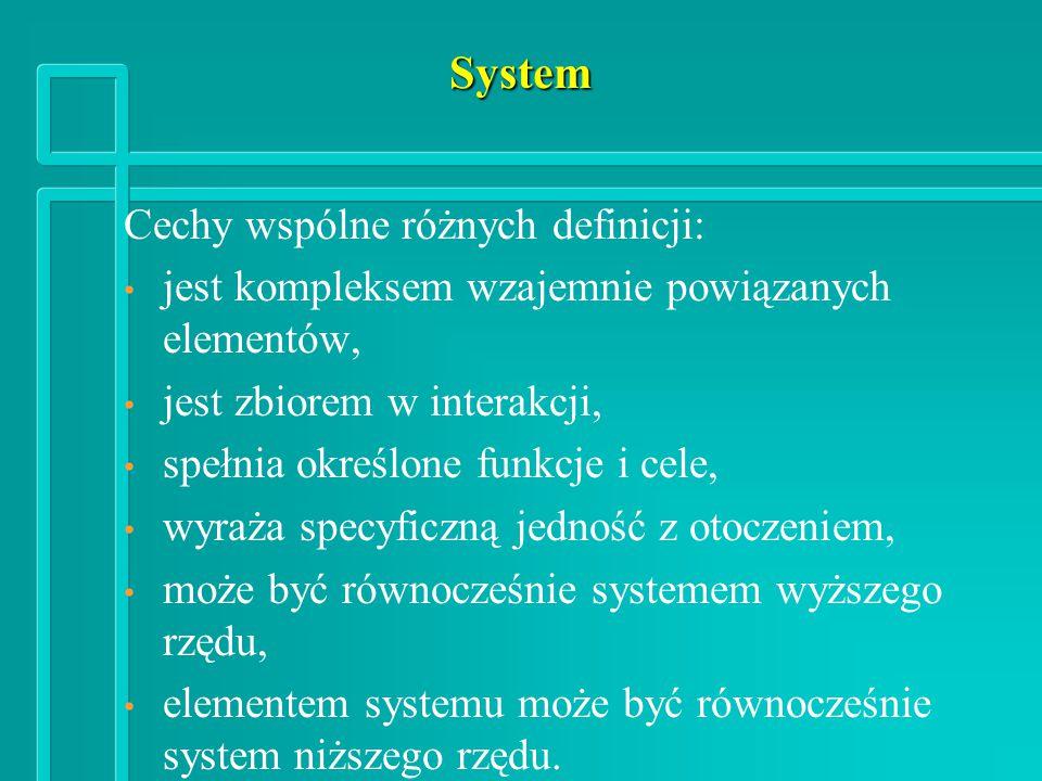 System Cechy wspólne różnych definicji: jest kompleksem wzajemnie powiązanych elementów, jest zbiorem w interakcji, spełnia określone funkcje i cele, wyraża specyficzną jedność z otoczeniem, może być równocześnie systemem wyższego rzędu, elementem systemu może być równocześnie system niższego rzędu.