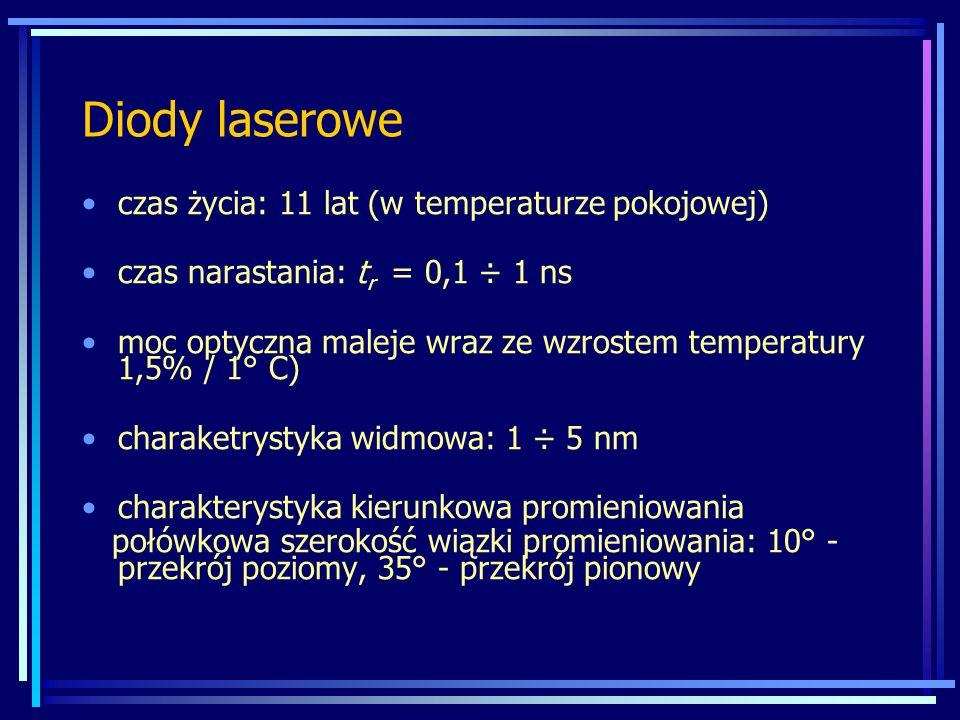 Diody laserowe czas życia: 11 lat (w temperaturze pokojowej) czas narastania: t r = 0,1 ÷ 1 ns moc optyczna maleje wraz ze wzrostem temperatury 1,5% /