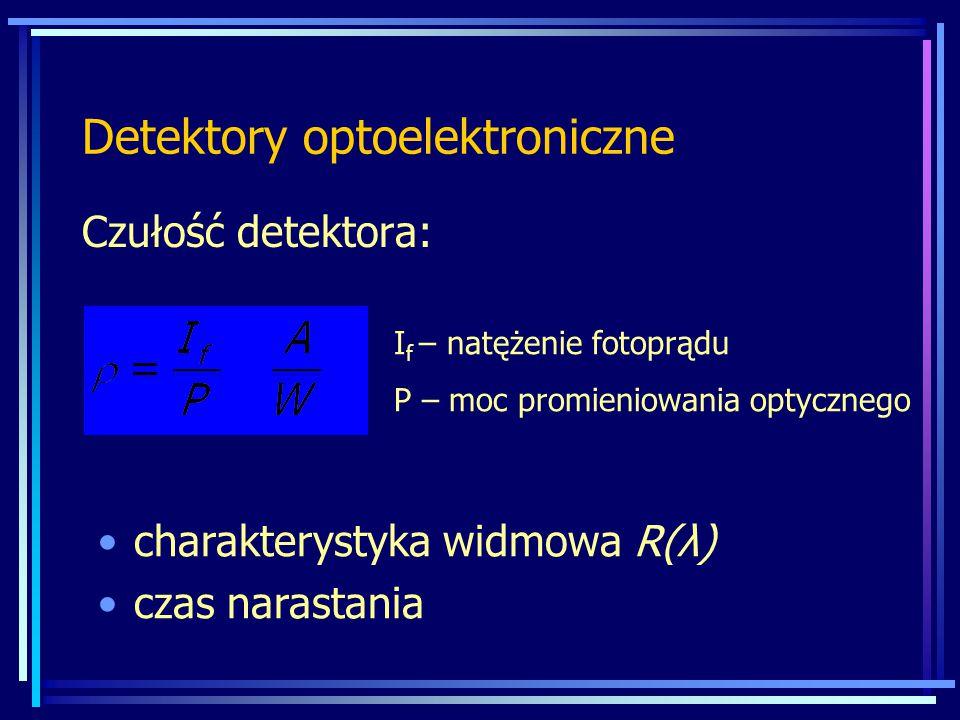 Detektory optoelektroniczne Czułość detektora: I f – natężenie fotoprądu P – moc promieniowania optycznego charakterystyka widmowa R(λ) czas narastani