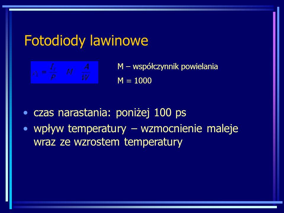 Fotodiody lawinowe M – współczynnik powielania M = 1000 czas narastania: poniżej 100 ps wpływ temperatury – wzmocnienie maleje wraz ze wzrostem temper