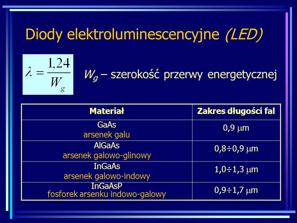 Diody elektroluminescencyjne (LED) W g – szerokość przerwy energetycznej MateriałZakres długości fal GaAs arsenek galu 0,9  m AlGaAs arsenek galowo-g