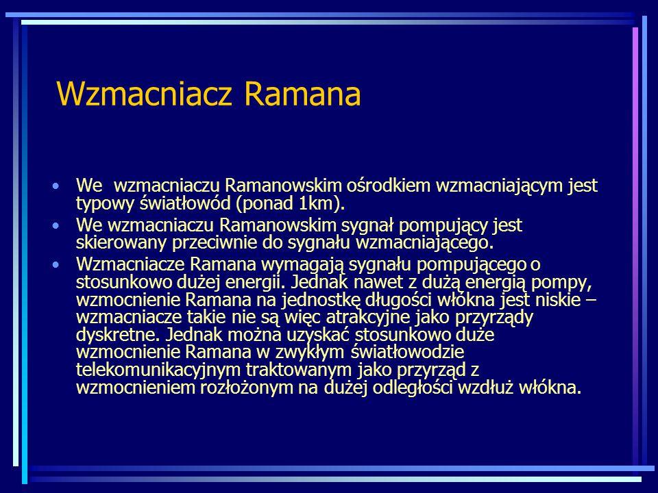 Wzmacniacz Ramana We wzmacniaczu Ramanowskim ośrodkiem wzmacniającym jest typowy światłowód (ponad 1km). We wzmacniaczu Ramanowskim sygnał pompujący j