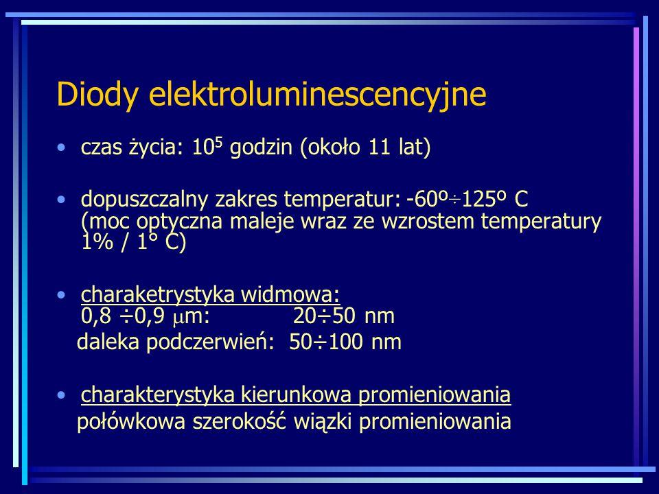 Fotodiody MateriałZakres długości fal [µm] Długość fali przy maksimum czułości [µm] Czułość maksymaln a [A/W] Si0,3 ÷ 1,10,80,5 Ge0,5 ÷ 1,81,550,7 InGaAs1,0 ÷ 1,71,70,6