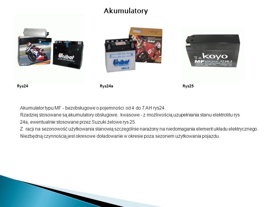 Akumulator typu MF - bezobsługowe o pojemności od 4 do 7 AH rys24. Rzadziej stosowane są akumulatory obsługowe, kwasowe - z możliwością uzupełniania s