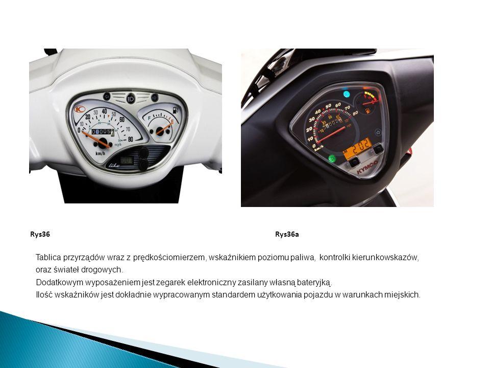 Tablica przyrządów wraz z prędkościomierzem, wskaźnikiem poziomu paliwa, kontrolki kierunkowskazów, oraz świateł drogowych. Dodatkowym wyposażeniem je