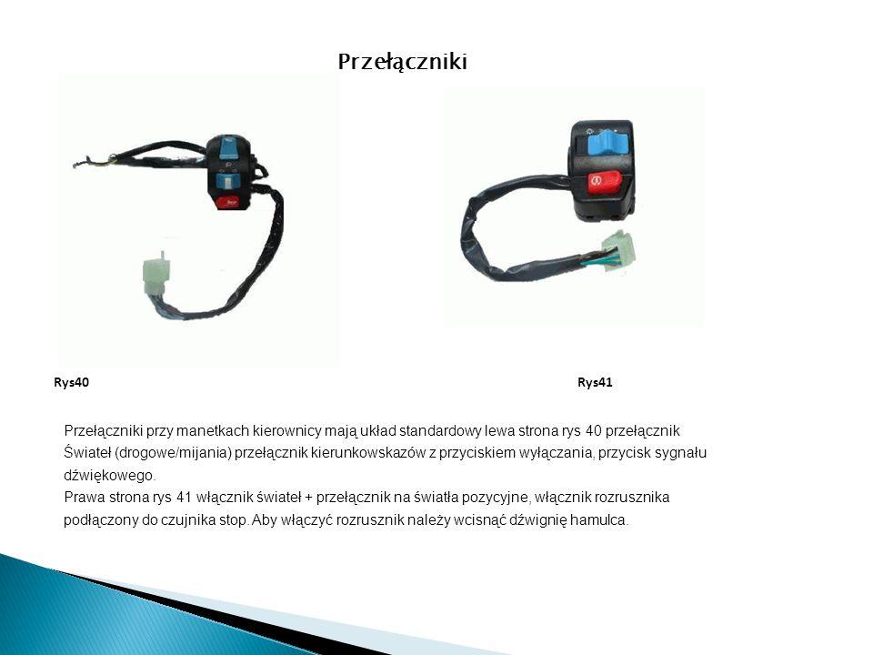 Przełączniki przy manetkach kierownicy mają układ standardowy lewa strona rys 40 przełącznik Świateł (drogowe/mijania) przełącznik kierunkowskazów z p