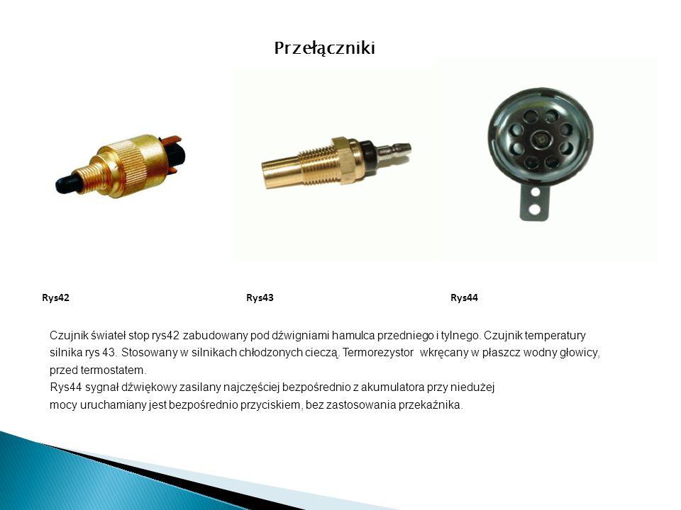 Czujnik świateł stop rys42 zabudowany pod dźwigniami hamulca przedniego i tylnego. Czujnik temperatury silnika rys 43. Stosowany w silnikach chłodzony