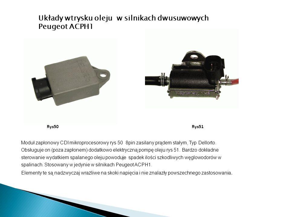 Moduł zapłonowy CDI mikroprocesorowy rys 50 8pin zasilany prądem stałym, Typ Dellorto. Obsługuje on (poza zapłonem) dodatkowo elektryczną pompę oleju