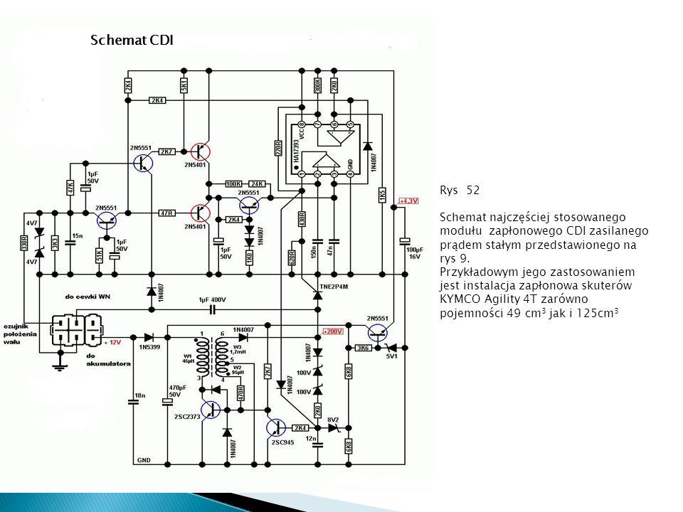 Rys 52 Schemat najczęściej stosowanego modułu zapłonowego CDI zasilanego prądem stałym przedstawionego na rys 9. Przykładowym jego zastosowaniem jest