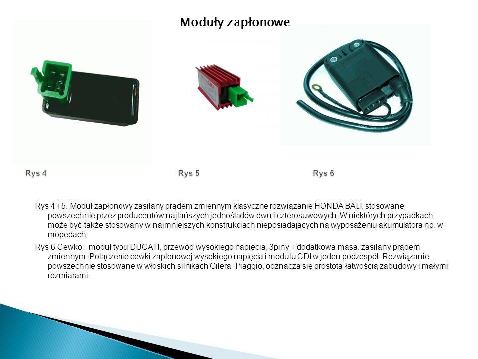 Rys 4 i 5. Moduł zapłonowy zasilany prądem zmiennym klasyczne rozwiązanie HONDA BALI, stosowane powszechnie przez producentów najtańszych jednośladów