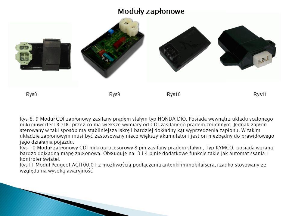 Rys 8, 9 Moduł CDI zapłonowy zasilany prądem stałym typ HONDA DIO. Posiada wewnątrz układu scalonego mikroinwerter DC/DC przez co ma większe wymiary o
