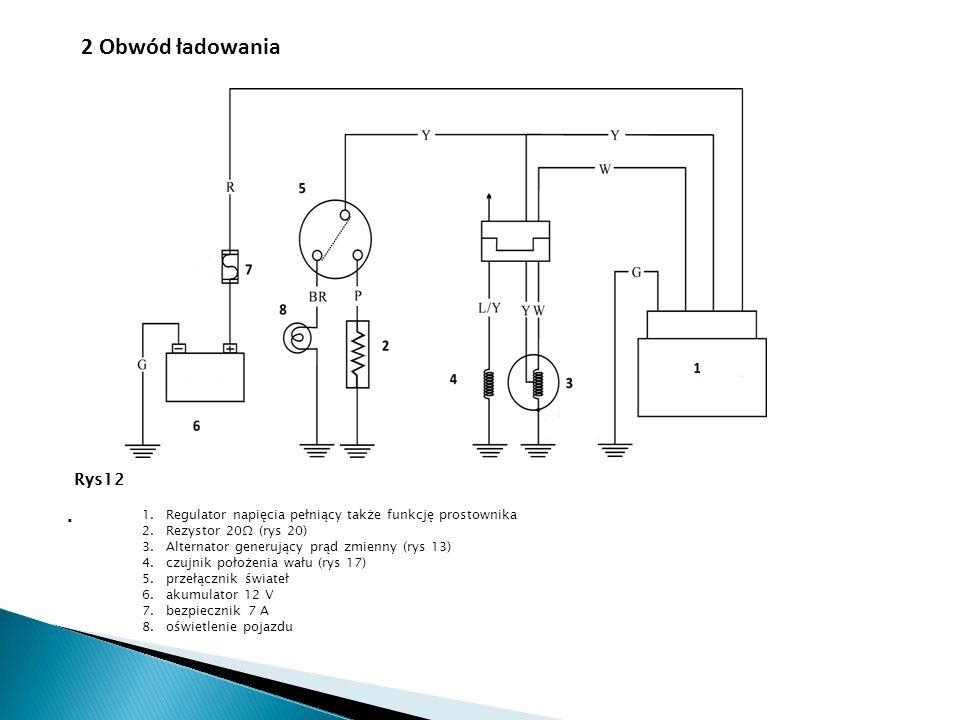 . Rys 4 Rys 5 1.Regulator napięcia pełniący także funkcję prostownika 2.Rezystor 20Ω (rys 20) 3.Alternator generujący prąd zmienny (rys 13) 4.czujnik