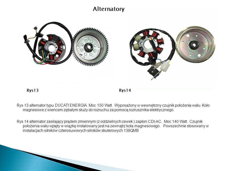 Rys 13 alternator typu DUCATI ENERGIA. Moc 150 Watt. Wyposażony w wewnętrzny czujnik położenia wału. Koło magnesowe z wieńcem zębatym służy do rozruch