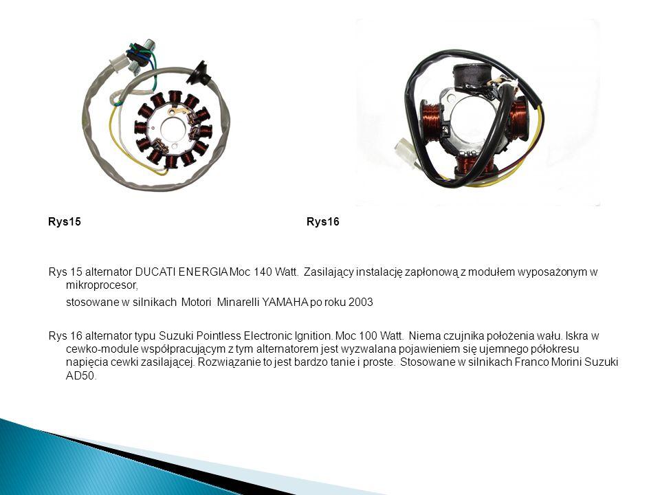 Rys15 Rys16 Rys 15 alternator DUCATI ENERGIA Moc 140 Watt. Zasilający instalację zapłonową z modułem wyposażonym w mikroprocesor, stosowane w silnikac