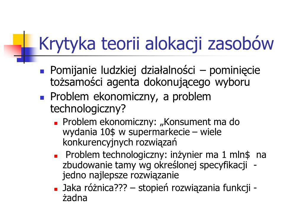 """Krytyka teorii alokacji zasobów cd.""""Słowo problem implikuje rozwiązanie – T.D."""