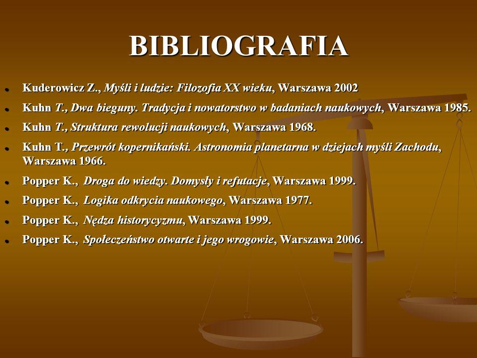 BIBLIOGRAFIA Kuderowicz Z., Myśli i ludzie: Filozofia XX wieku, Warszawa 2002 Kuderowicz Z., Myśli i ludzie: Filozofia XX wieku, Warszawa 2002 Kuhn T., Dwa bieguny.