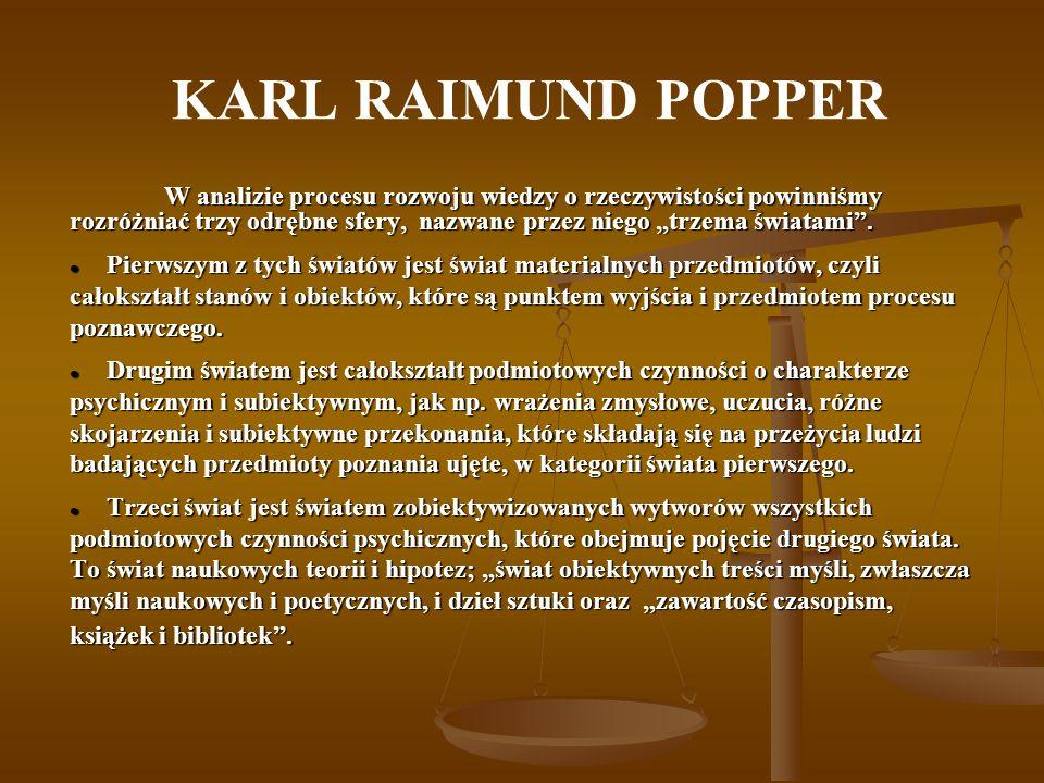 KARL RAIMUND POPPER Elementy trzeciego świata, będąc wytworem ludzi, stają się wobec swych twórców niezależne, żyją własnym życiem i podlegają własnej ewolucji.
