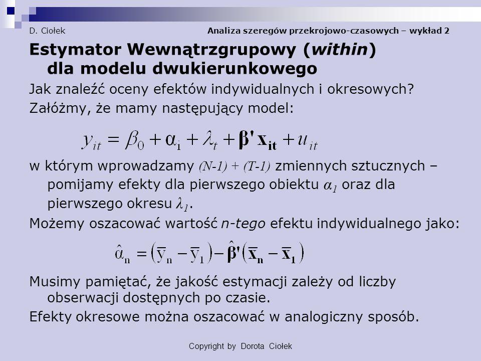 D. Ciołek Analiza szeregów przekrojowo-czasowych – wykład 2 Estymator Wewnątrzgrupowy (within) dla modelu dwukierunkowego Jak znaleźć oceny efektów in