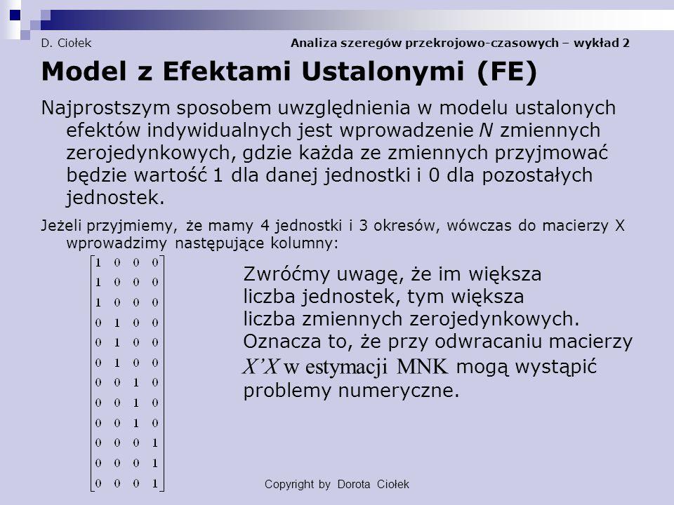 D. Ciołek Analiza szeregów przekrojowo-czasowych – wykład 2 Model z Efektami Ustalonymi (FE) Najprostszym sposobem uwzględnienia w modelu ustalonych e