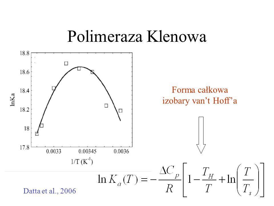 Polimeraza Klenowa Datta et al., 2006 Forma całkowa izobary van't Hoff'a