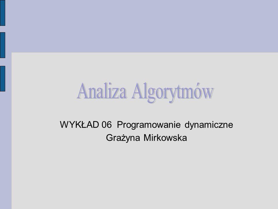 WYKŁAD 06 Programowanie dynamiczne Grażyna Mirkowska