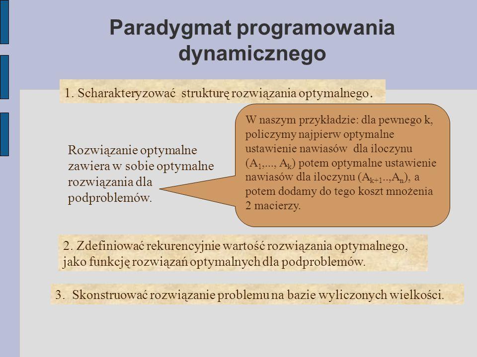 Paradygmat programowania dynamicznego 1. Scharakteryzować strukturę rozwiązania optymalnego. Rozwiązanie optymalne zawiera w sobie optymalne rozwiązan