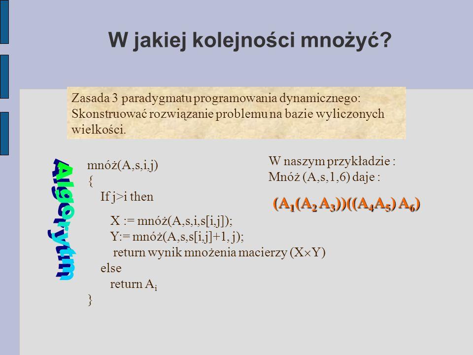 W jakiej kolejności mnożyć? Zasada 3 paradygmatu programowania dynamicznego: Skonstruować rozwiązanie problemu na bazie wyliczonych wielkości. mnóż(A,