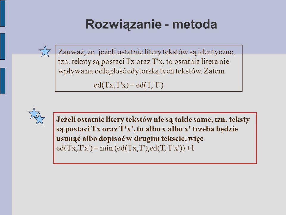 Rozwiązanie - metoda Zauważ, że jeżeli ostatnie litery tekstów są identyczne, tzn. teksty są postaci Tx oraz T'x, to ostatnia litera nie wpływa na odl