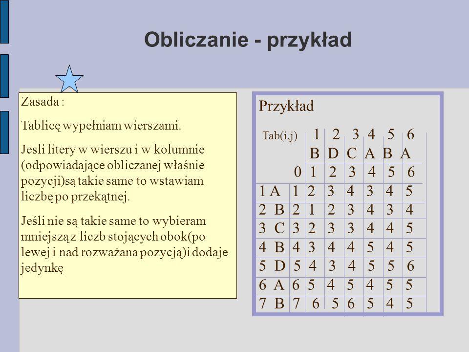 Obliczanie - przykład Zasada : Tablicę wypełniam wierszami. Jesli litery w wierszu i w kolumnie (odpowiadające obliczanej właśnie pozycji)są takie sam