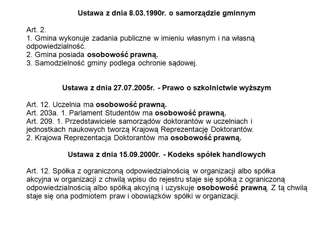 Ustawa z dnia 8.03.1990r. o samorządzie gminnym Art. 2. 1. Gmina wykonuje zadania publiczne w imieniu własnym i na własną odpowiedzialność. 2. Gmina p