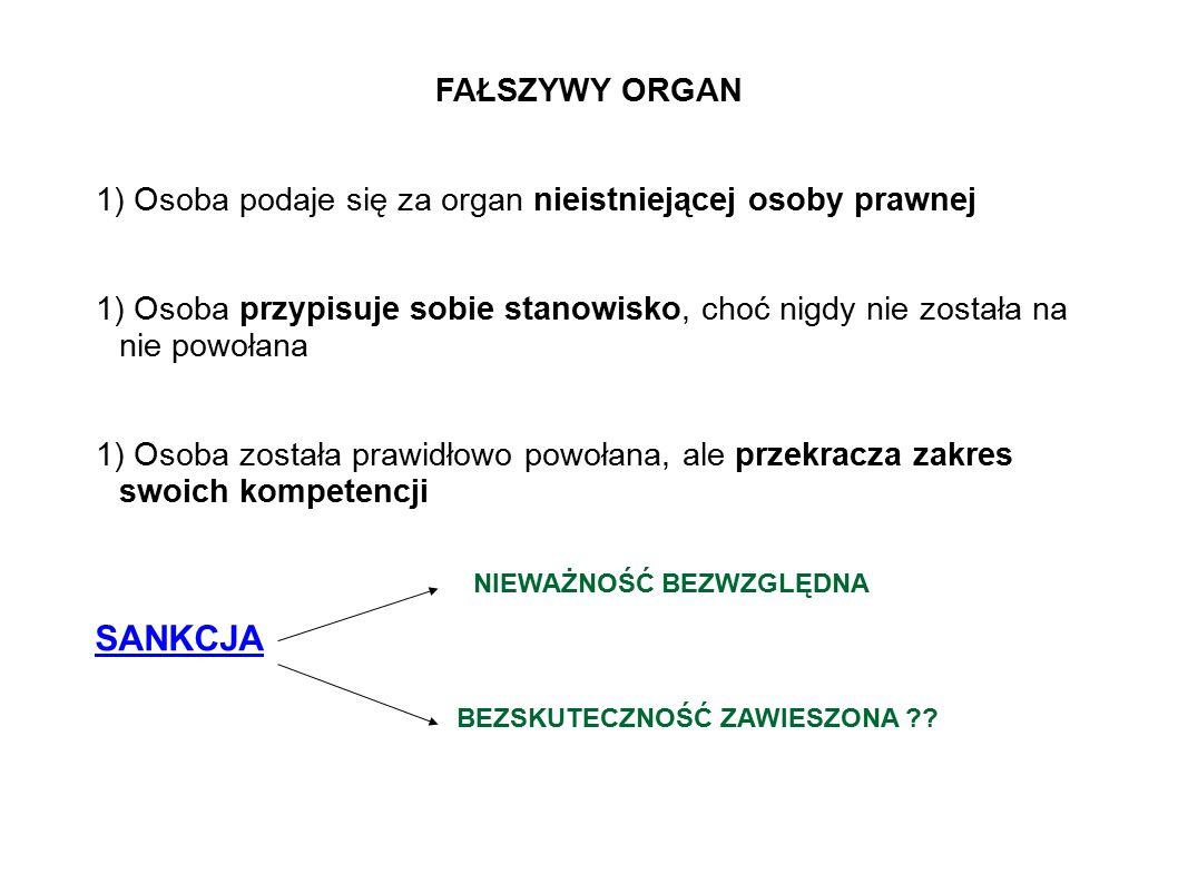 FAŁSZYWY ORGAN 1) Osoba podaje się za organ nieistniejącej osoby prawnej 1) Osoba przypisuje sobie stanowisko, choć nigdy nie została na nie powołana