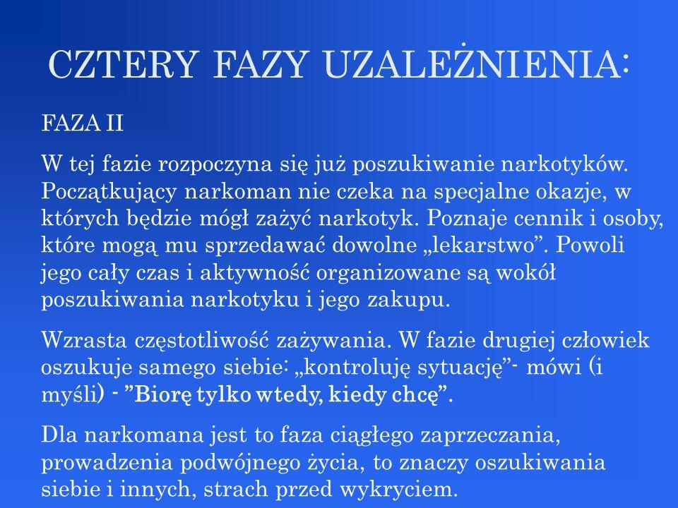 CZTERY FAZY UZALEŻNIENIA: FAZA II W tej fazie rozpoczyna się już poszukiwanie narkotyków. Początkujący narkoman nie czeka na specjalne okazje, w który