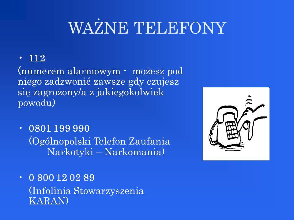 WAŻNE TELEFONY 112 (numerem alarmowym - możesz pod niego zadzwonić zawsze gdy czujesz się zagrożony/a z jakiegokolwiek powodu) 0801 199 990 (Ogólnopol