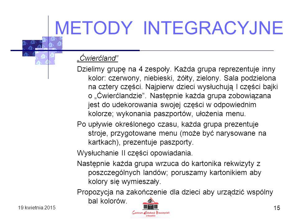 """METODY INTEGRACYJNE """"Ćwierćland"""" Dzielimy grupę na 4 zespoły. Każda grupa reprezentuje inny kolor: czerwony, niebieski, żółty, zielony. Sala podzielon"""