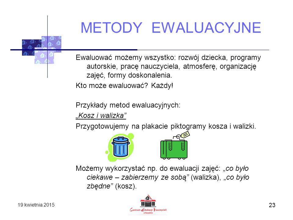 METODY EWALUACYJNE Ewaluować możemy wszystko: rozwój dziecka, programy autorskie, pracę nauczyciela, atmosferę, organizację zajęć, formy doskonalenia.