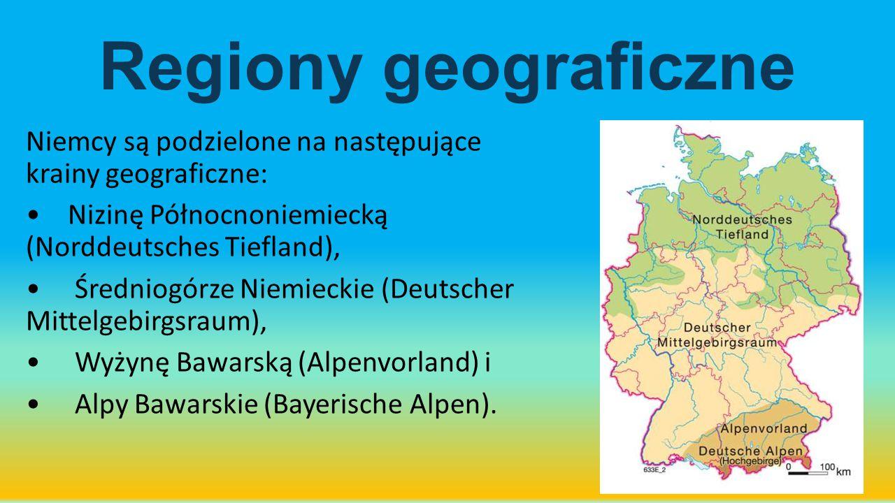 Regiony geograficzne Niemcy są podzielone na następujące krainy geograficzne: Nizinę Północnoniemiecką (Norddeutsches Tiefland), Średniogórze Niemieck