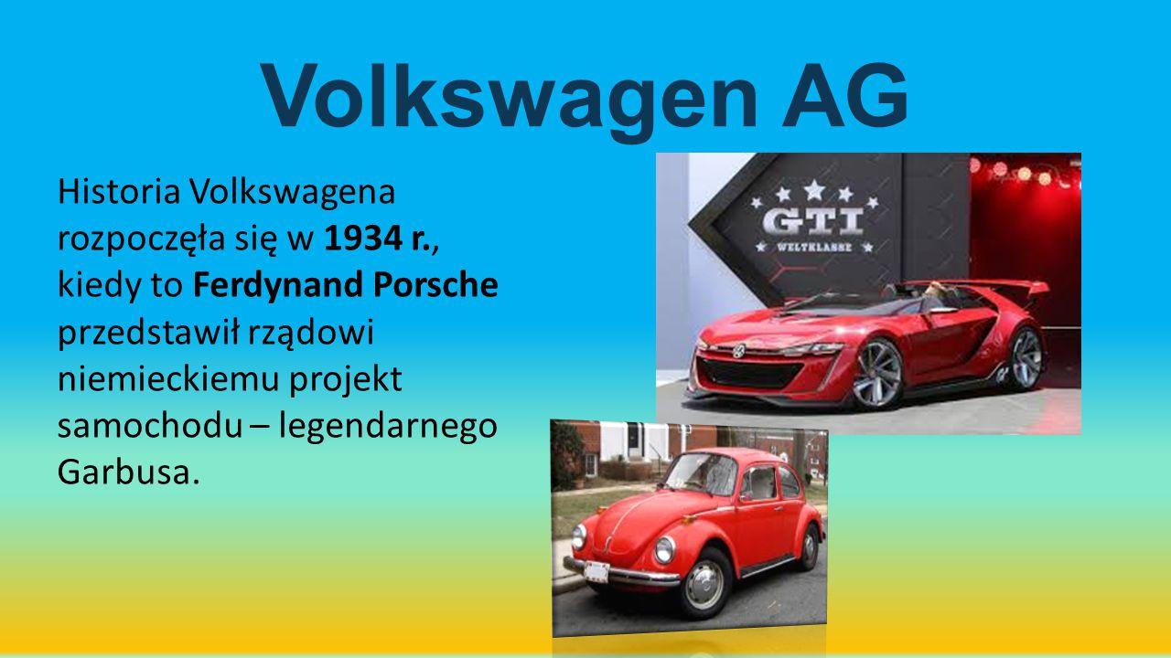 Volkswagen AG Historia Volkswagena rozpoczęła się w 1934 r., kiedy to Ferdynand Porsche przedstawił rządowi niemieckiemu projekt samochodu – legendarn