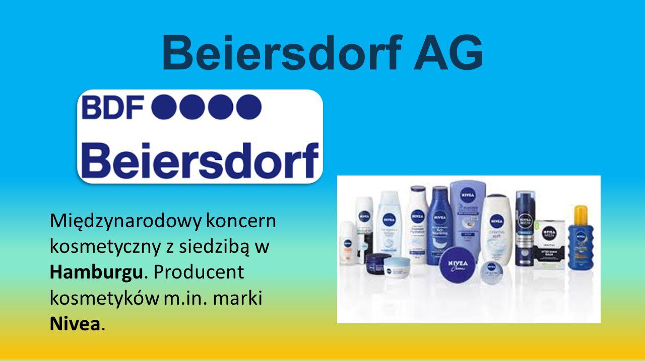 Beiersdorf AG Międzynarodowy koncern kosmetyczny z siedzibą w Hamburgu. Producent kosmetyków m.in. marki Nivea.