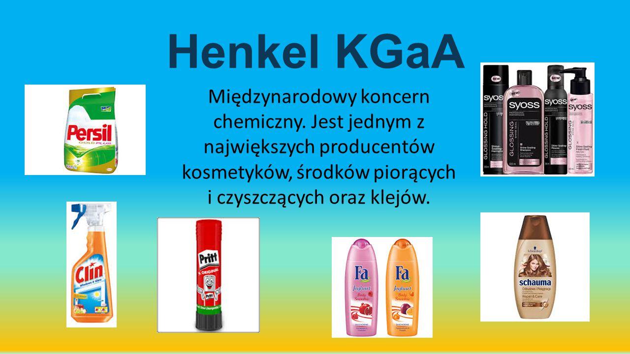 Henkel KGaA Międzynarodowy koncern chemiczny. Jest jednym z największych producentów kosmetyków, środków piorących i czyszczących oraz klejów.
